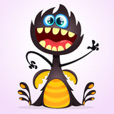 Vector cartoon dragon monster. Halloween black monster waving isolated Stock Images