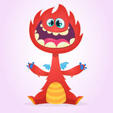 Vector cartoon dragon monster with tiny wings. Red dragon character waving his hands. Furry red dragon illustration Stock Photo