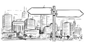 Drawing of Empty Blank Traffic Road Sign on City Background. Vector cartoon drawing of empty blank road traffic sign on city high rise buildings background Royalty Free Stock Images