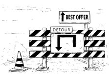 Drawing of Detour Road Block with Best Offer Sign. Vector cartoon drawing of road traffic block stop detour with best offer sign boards Stock Photos