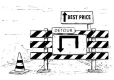 Drawing of Detour Road Block with Best Price Sign. Vector cartoon drawing of road traffic block stop detour with best price sign boards Stock Photography