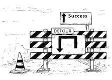 Drawing of Detour Road Block with Success Sign. Vector cartoon drawing of road traffic block stop detour with success sign boards Royalty Free Stock Photo