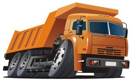 Vector cartoon dump truck. Isolated KAMAZ dump truck Available CDR-9 vector format without transparecy and effects Stock Photos