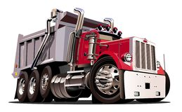 Vector Cartoon Dump Truck Stock Images