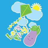Vector Cartoon of Eggplant is playing kite Stock Photos