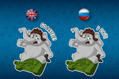 Vector, cartoon. Elephant cute Nick. Big set of stickers in English and Russian languages. Sitting on a tank. Stock Photo