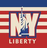 New York city. Vector cartoon emblem of the american city of new york, statue of liberty on the background of the abbreviation of letters NY on the background of royalty free illustration