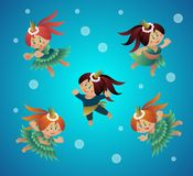 Vector cartoon emotional symbol of a sea princess. Royalty Free Stock Image
