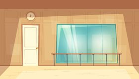 Vector cartoon empty dance-hall with mirrors. Vector cartoon illustration of empty dance-hall with mirrors and wooden floor. Rehearsal room for ballet lessons Royalty Free Illustration