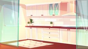 Vector cartoon empty kitchen in pink colors stock illustration