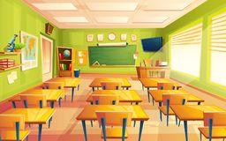 Vector cartoon empty school, college classroom. Vector cartoon empty elementary or high school, college, university classroom background. Illustration with room Stock Photos