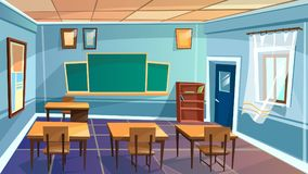 Vector cartoon empty school, college classroom. Vector cartoon empty elementary high school, college, university classroom background. Illustration room interior Stock Photography