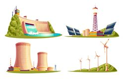 Vector cartoon power stations isolated set. Vector cartoon energy stations - alternative, renewable traditional. Set of isolated illustrations, solar panel plant Royalty Free Stock Photography