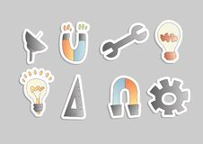 Vector cartoon engineering icon set. Magnet, bulb, satellite and mechanical instruments in one cartoon icon collection vector illustration