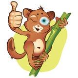 Vector cartoon Everything is great. Vector cartoon small mammal tarsier holds the right hand thumb up vector illustration