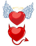Vector cartoon evil and angels hearts Stock Photo