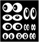 Vector cartoon eyes set isolated on black background Stock Photo