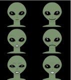 Vector cartoon face expressions Emoticon set alien man face against dark background stock illustration