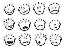 Vector cartoon faces and emotions Royalty Free Stock Photography