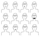 Vector cartoon faces and emotions Stock Images