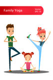 Vector Cartoon Family Yoga Illustration with Cartoon Family Characters Royalty Free Stock Image