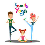 Vector Cartoon Family Yoga Illustration with Cartoon Family Characters Royalty Free Stock Photography