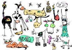 Vector cartoon fanny animals set. Hand drawn Royalty Free Stock Image