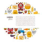 Vector cartoon farm market background Stock Images