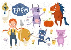 Little farm illustration for kids stock illustration