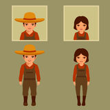 Vector cartoon farmer character,. Farm, village people, agriculture illustration Royalty Free Stock Photography