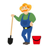 Vector cartoon farmer with shovel bucket. Vector illustration of a cartoon farmer standing with a bayonet shovel and a red bucket. A rural man in a hat, uniform stock illustration
