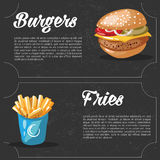 Vector cartoon fast food combo - hamburger and french fries. food elements for menu. Stock Photos