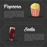 Vector cartoon fast food combo - popcorn and soda. food elements for menu. Vector cartoon fast food combo - popcorn and soda. food elements for menu Stock Image