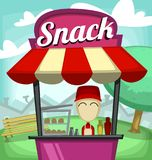 Vector cartoon fast food snack stand bar small culinary business illustration. With nice guy in red uniform and park tree bench neighborhood Stock Image