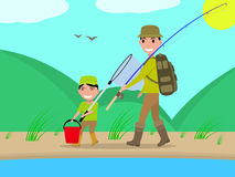 Vector cartoon father and son go on fishing trip Royalty Free Stock Image