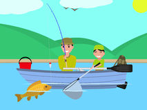 Vector cartoon father son together fishing boat Royalty Free Stock Photos