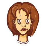 Vector Cartoon Female Character Emotion. Freaked Out Woman Royalty Free Stock Photos
