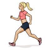 Vector Cartoon Female Character. Jogging Young Woman. Stock Photos