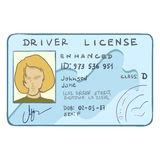 Vector Cartoon Female Drivers ID Royalty Free Stock Images