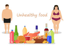 Vector cartoon female male obesity. Unhealthy food. Vector illustration cartoon fat man and woman with harmful fatty nutrition. Concept female and male obesity Royalty Free Stock Photography