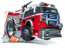 Vector Cartoon Fire Truck. Hotrod. Available AI-10 vector format separated by groups and layers for easy edit Royalty Free Stock Images