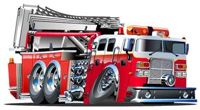 Vector Cartoon Fire Truck. Lowroder. Available AI-10, vector format separated by groups and layers for easy edit Stock Image
