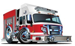 Vector Cartoon Fire Truck. Available EPS-10 vector format separated by groups and layers for easy edit Stock Photo