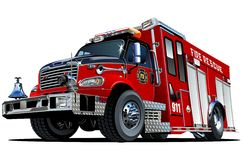 Vector Cartoon Fire Truck Stock Photo
