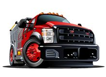 Vector Cartoon Fire Truck Stock Images