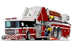 Vector Cartoon Fire Truck. Available EPS-10 vector format separated by groups and layers for easy edit Royalty Free Stock Images
