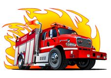 Vector Cartoon Fire Truck Stock Photography