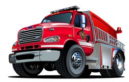 Vector Cartoon Fire Truck. Hotrod. Available EPS-10 vector format separated by groups and layers for easy edit Stock Photo
