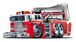 Vector Cartoon Fire Truck. Hotrod. Available EPS-10 vector format separated by groups and layers for easy edit Royalty Free Stock Photo