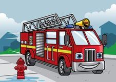 Cartoon of firefighter truck illustration. Vector of cartoon of firefighter truck illustration Royalty Free Stock Image